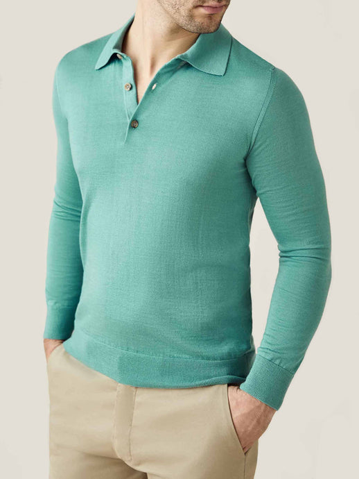 Luca Faloni Aquamarine Fine Silk-Cashmere Polo Made in Italy