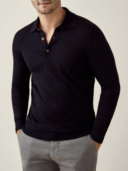 Luca Faloni Black Fine Silk-Cashmere Polo Made in Italy