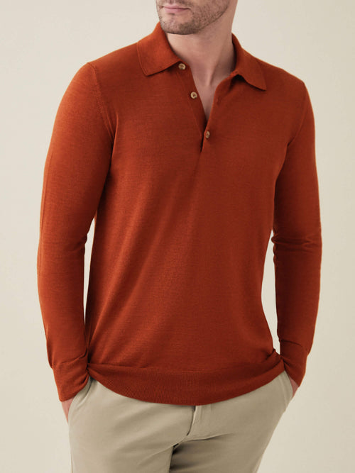 Luca Faloni Rust Red Fine Silk-Cashmere Polo Made in Italy