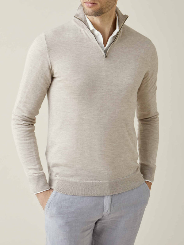 Luca Faloni Oatmeal Fine Silk-Cashmere Zip-up Made in Italy