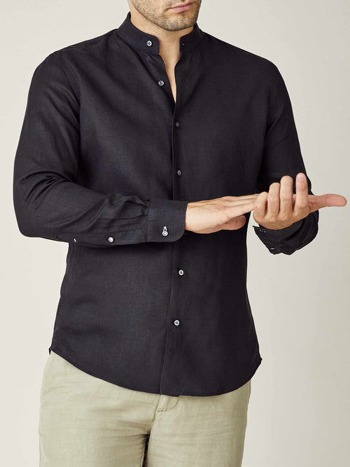 Luca Faloni Black Versilia Linen Shirt Made in Italy