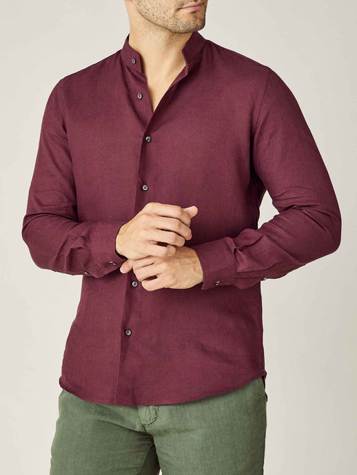 Luca Faloni Burgundy Versilia Linen Shirt Made in Italy