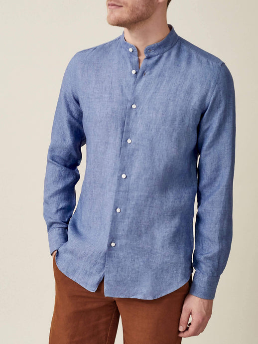 Luca Faloni Chambray Blue Versilia Linen Shirt Made in Italy