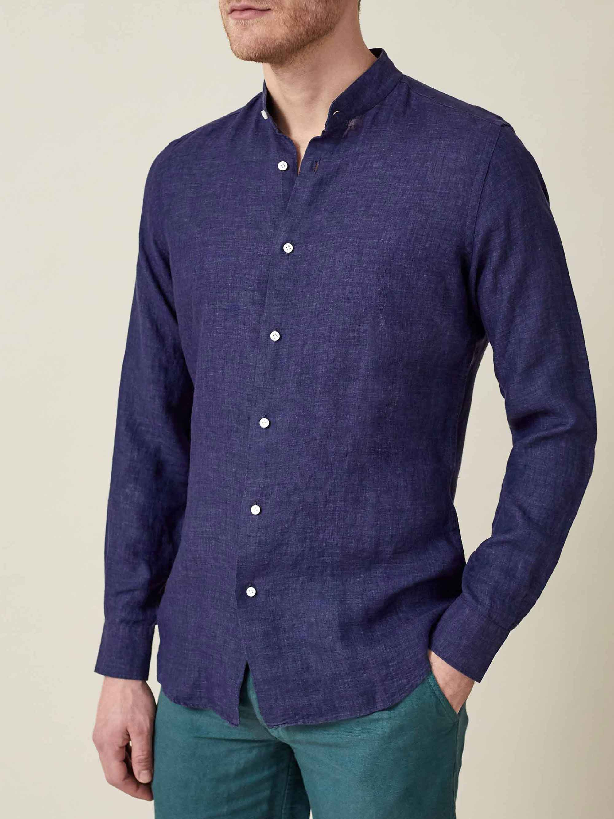 Luca Faloni Navy Blue Versilia Linen Shirt Made in Italy
