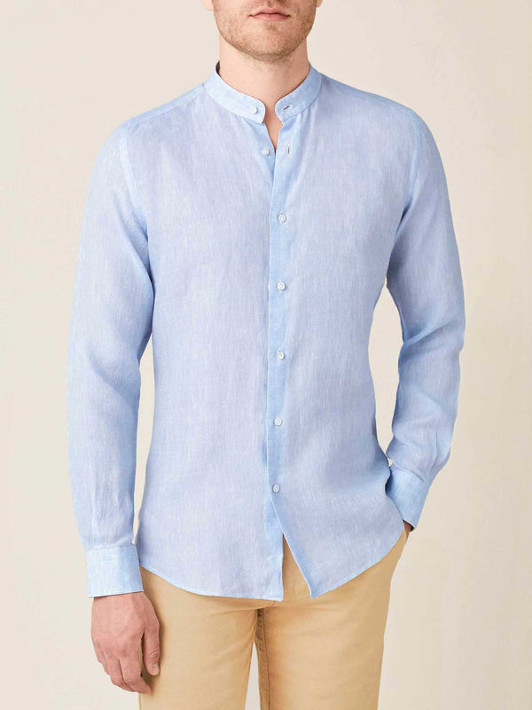Luca Faloni Sky Blue Versilia Linen Shirt Made in Italy