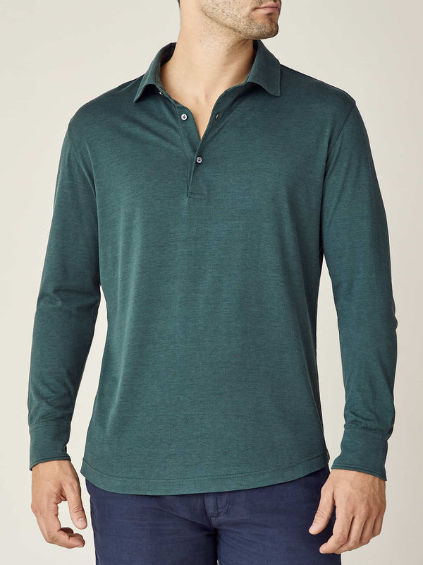 Emerald Green Amalfi Silk-Cotton Polo Shirt