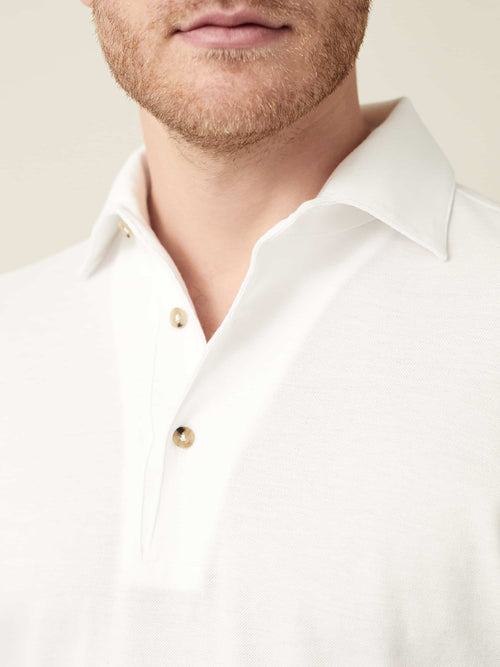 Luca Faloni White Brera Polo Shirt Made in Italy
