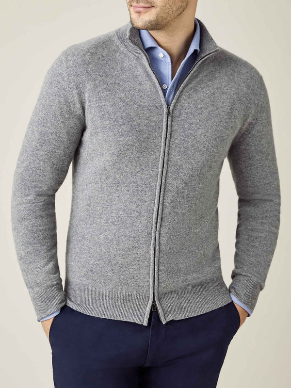 Luca Faloni Dolomiti Grey Pure Cashmere Zip Cardigan Made in Italy