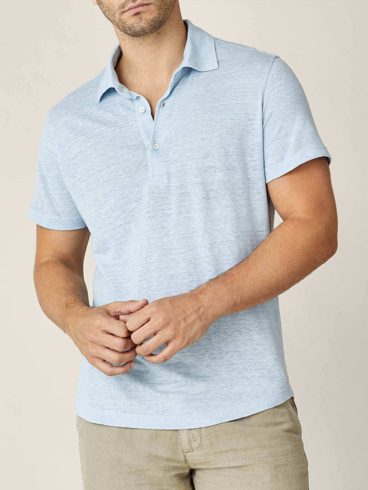 Luca Faloni Light Blue Elba Linen Jersey Polo Made in Italy