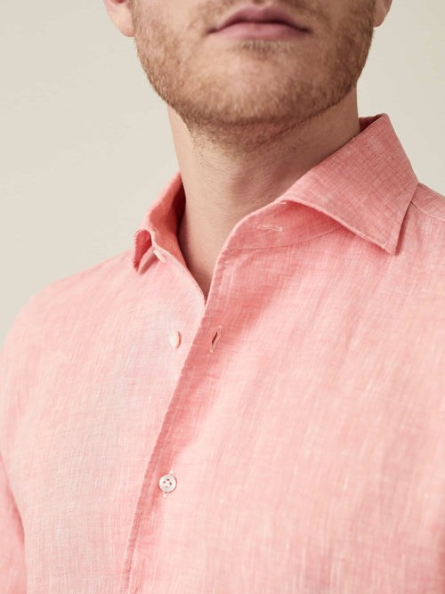 Luca Flamingo Pink Portofino Linen Shirt Made in Italy