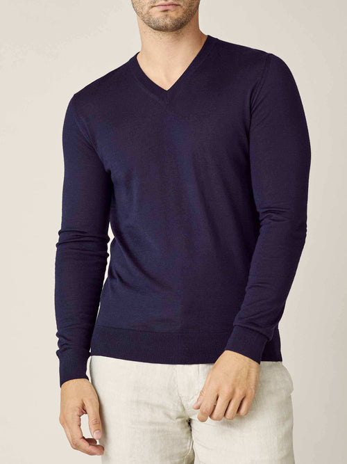 Luca Faloni Navy Blue Fine Silk-Cashmere V Neck Made in Italy