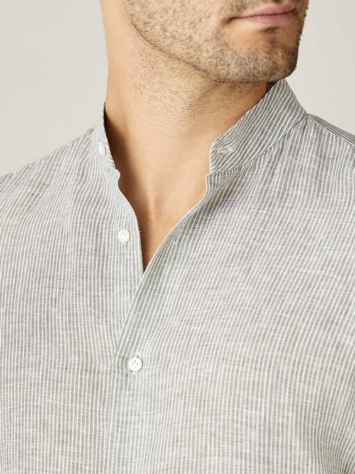 Khaki Green Striped Versilia Linen Shirt