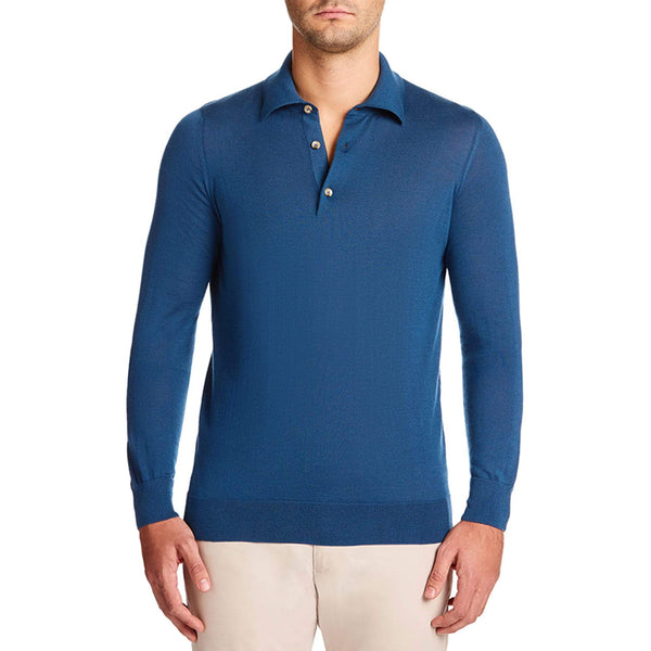 Luca Faloni Atlantic Blue Fine Silk Cashmere Polo Made in Italy