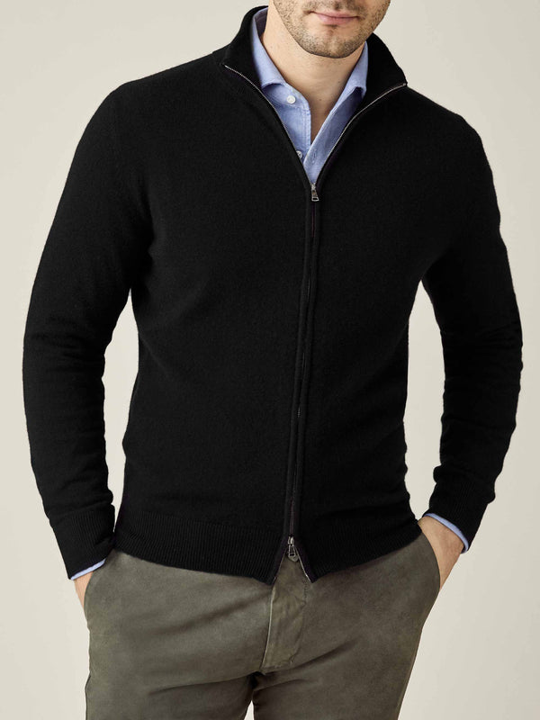 Luca Faloni Black Pure Cashmere Zip Cardigan Made in Italy