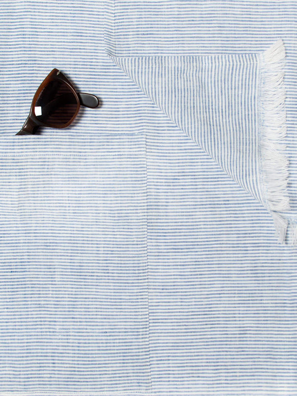 Luca Faloni Blue & White Striped Linen Towel with Pocket Made in Italy