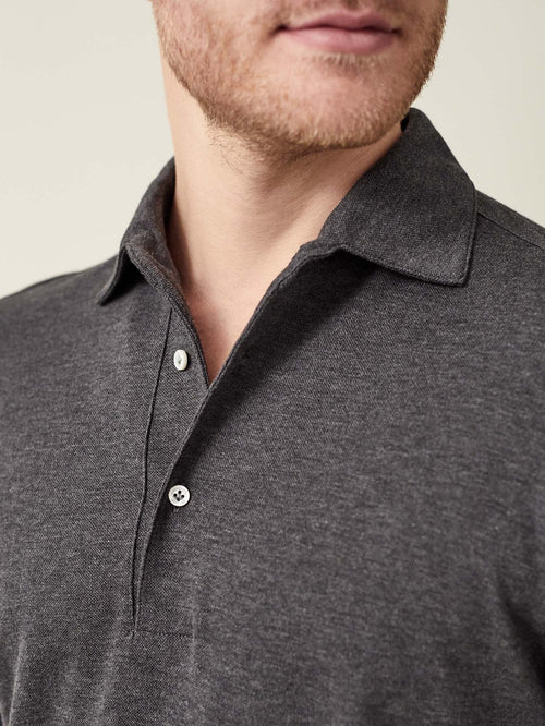 Luca Faloni Charcoal Grey Brera Polo Shirt Made in Italy