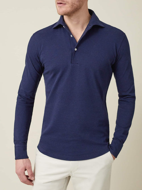 Luca Faloni Navy Blue Brera Polo Shirt Made in Italy