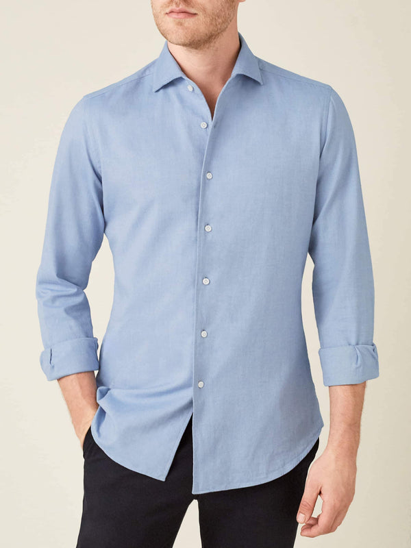 Luca Faloni Light Blue Brushed Cotton Shirt Made in Italy