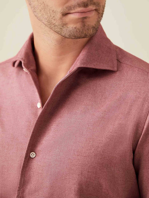 Luca Faloni Red Brushed Cotton Shirt Made in Italy