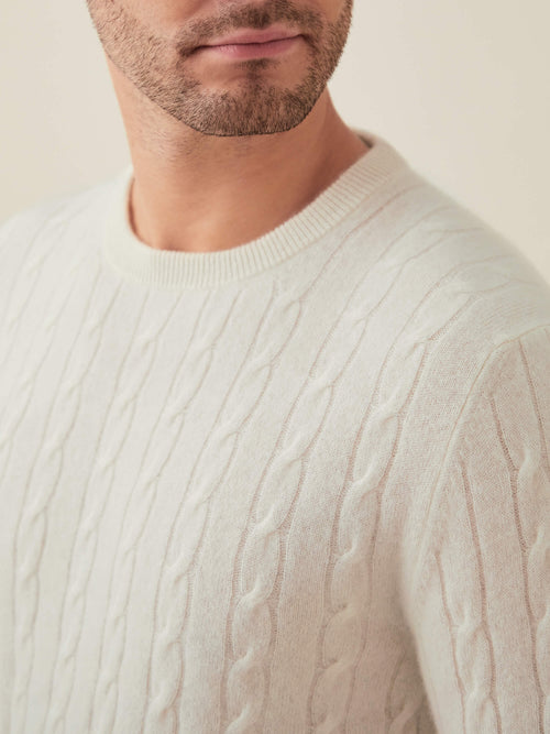 Luca Faloni Ivory Pure Cashmere Cable Knit Made in Italy