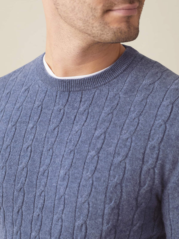 Sialia Blue Pure Cashmere Cable Knit