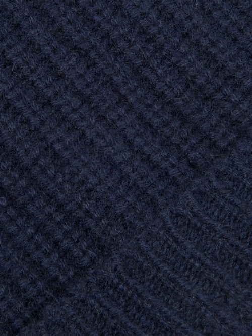 Luca Faloni Navy Blue Chunky Knit Cashmere Beanie Made in Italy
