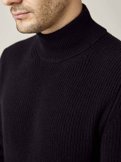 Luca Faloni Black Chunky Knit Cashmere Mock Neck Made in Italy
