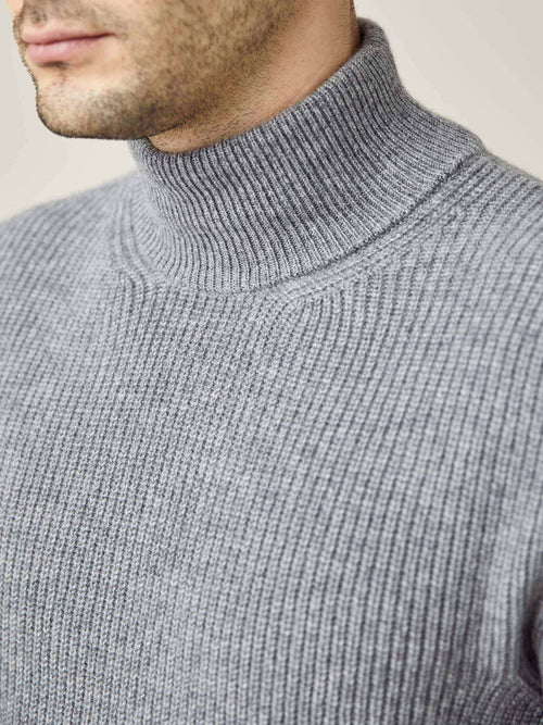 Luca Faloni Dolomiti Grey Chunky Knit Cashmere Mock Neck Made in Italy