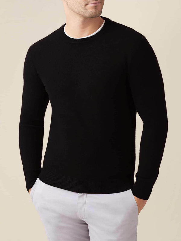 Luca Faloni Black Pure Cashmere Crew Neck Made in Italy
