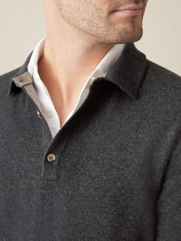Charcoal Grey Pure Cashmere Polo Sweater