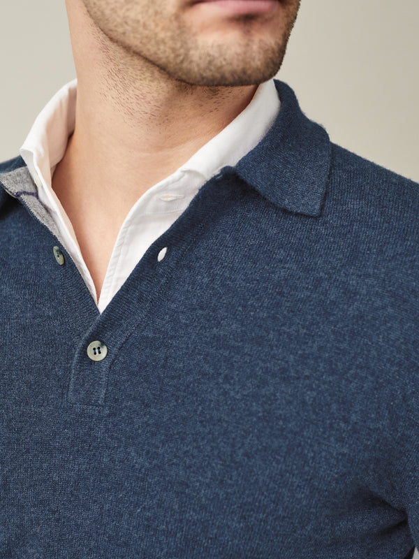 Luca Faloni Atlantic Blue Pure Cashmere Polo Sweater Made in Italy