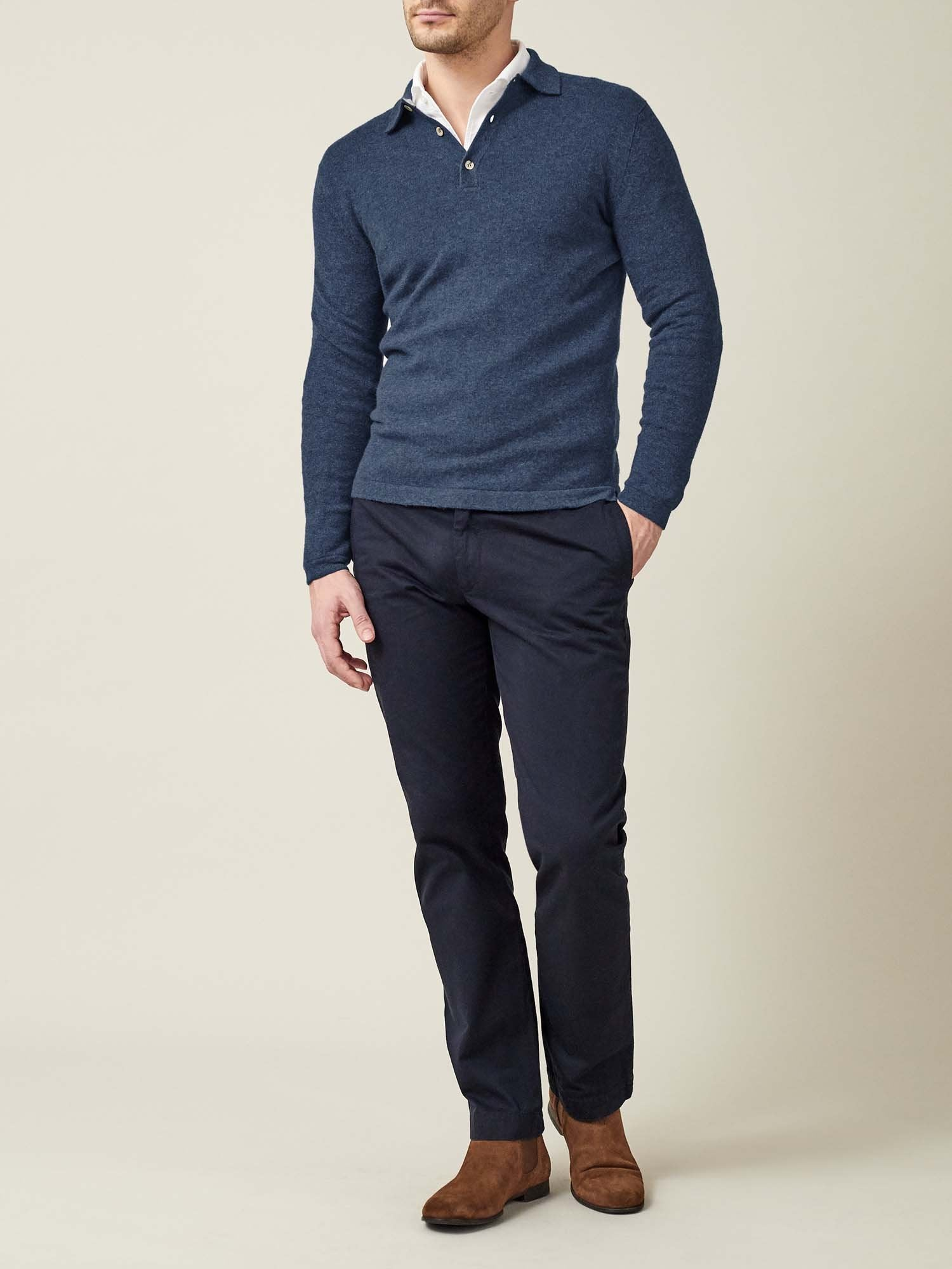 bfbe261d01c Atlantic Blue Cashmere Polo Sweater - Crafted in Italy   Luca Faloni