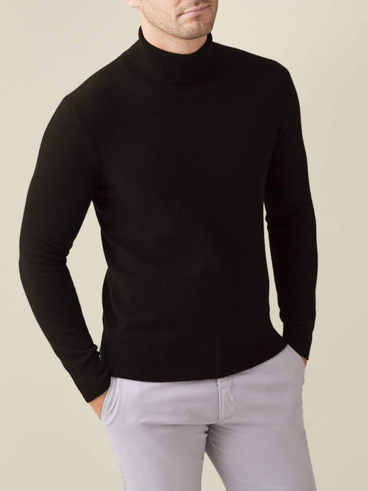 Black Pure Cashmere Roll Neck