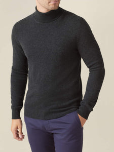 Charcoal Grey Pure Cashmere Roll Neck