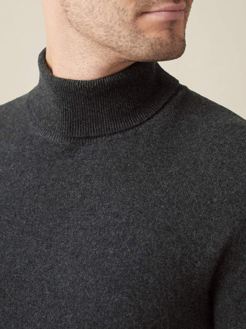 Charcoal Grey Made In Italy Cashmere Roll Neck Luca Faloni