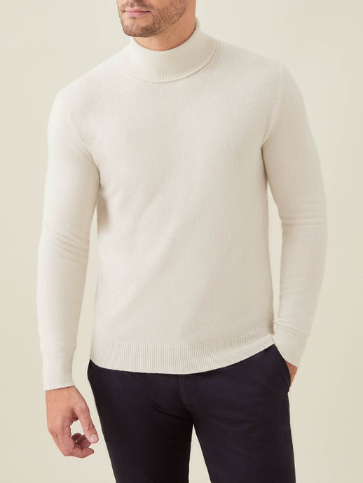 Luca Faloni Ivory Pure Cashmere Roll Neck Made in Italy