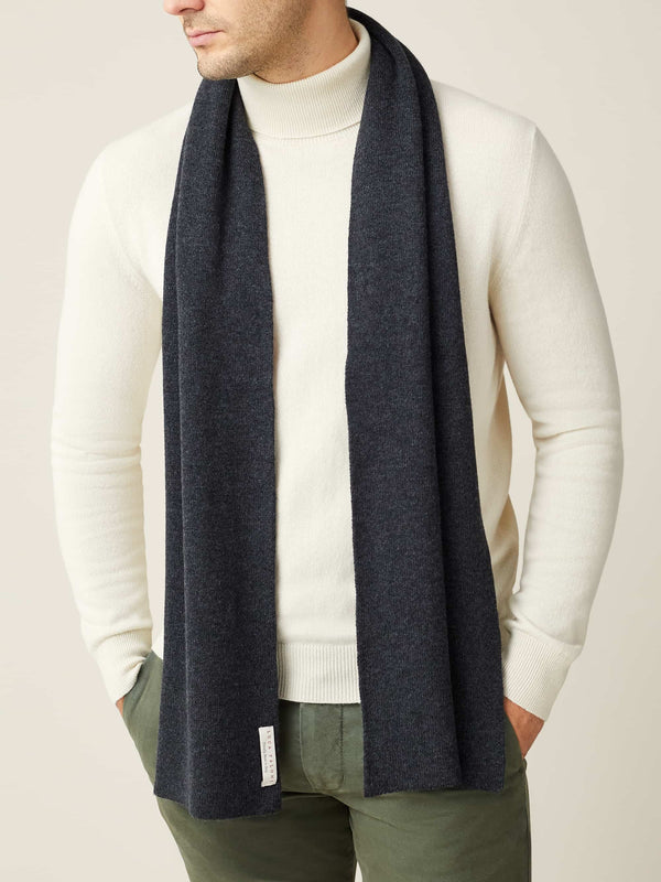 Luca Faloni Charcoal Grey Pure Cashmere Scarf Made in Italy