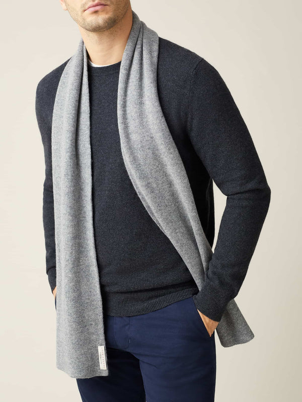 Luca Faloni Dolomiti Grey Pure Cashmere Scarf Made In Italy