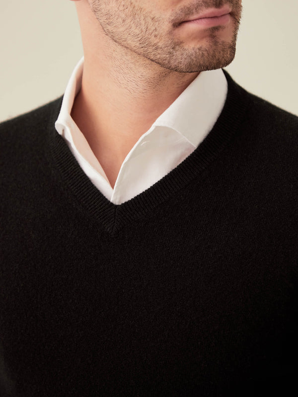 Luca Faloni Black Pure Cashmere V Neck Made in Italy