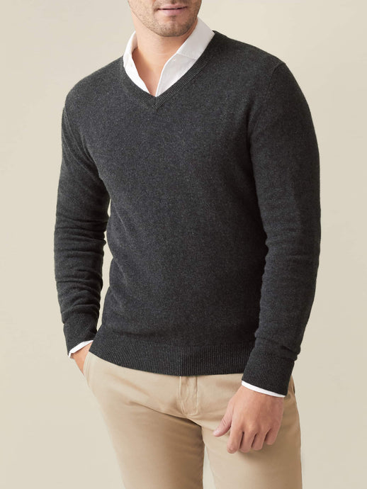 Charcoal Grey Pure Cashmere V Neck