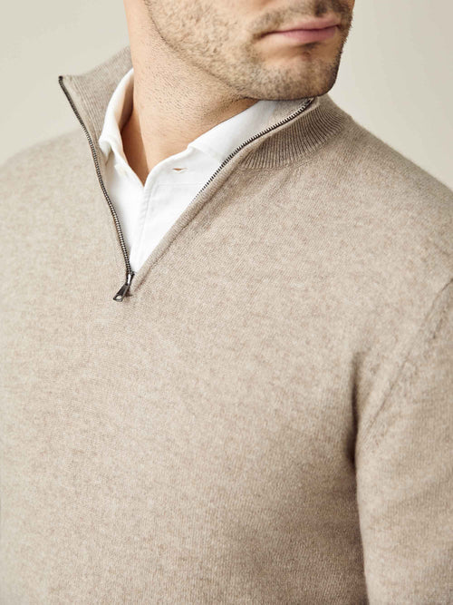 Luca Faloni Camel Beige Pure Cashmere Zip-up Made in Italy