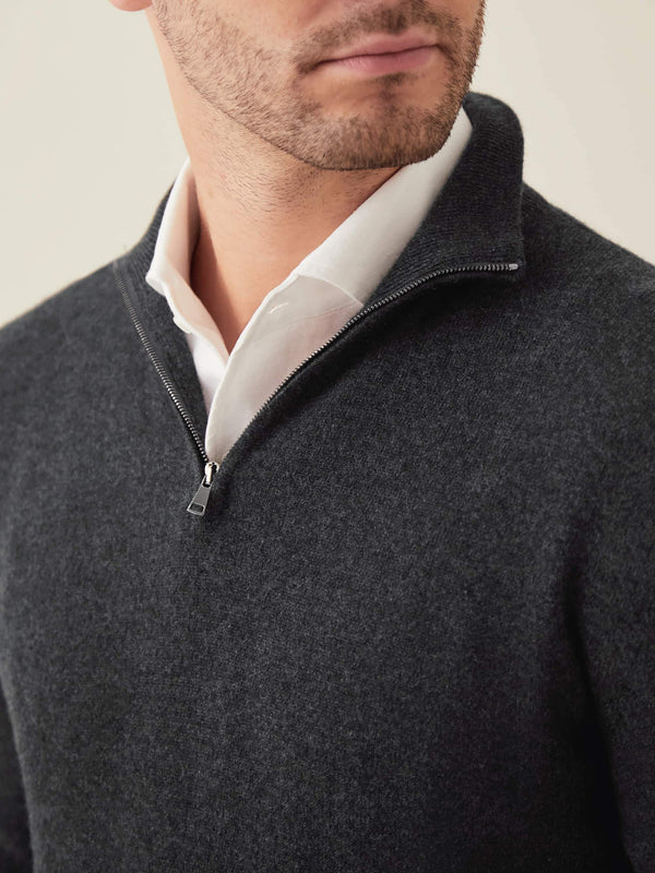 Luca Faloni Charcoal Grey Pure Cashmere Zip-up Made in Italy