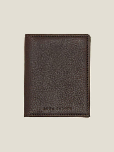 Luca Faloni Chocolate Brown Bifold Cardholder Made in Italy