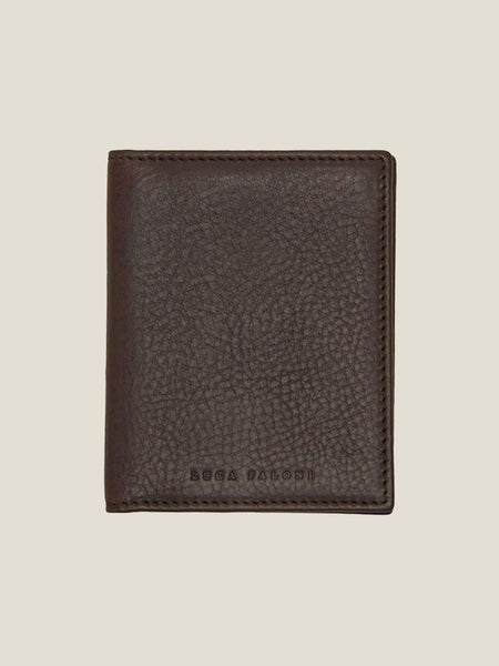 Luca Faloni Chocolate Brown Veloso Bifold Cardholder Made in Italy