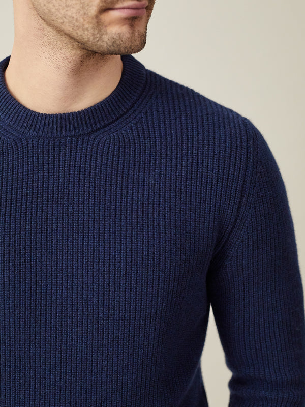 Luca Faloni Navy Blue Chunky Knit Cashmere Crew Neck Made in Italy