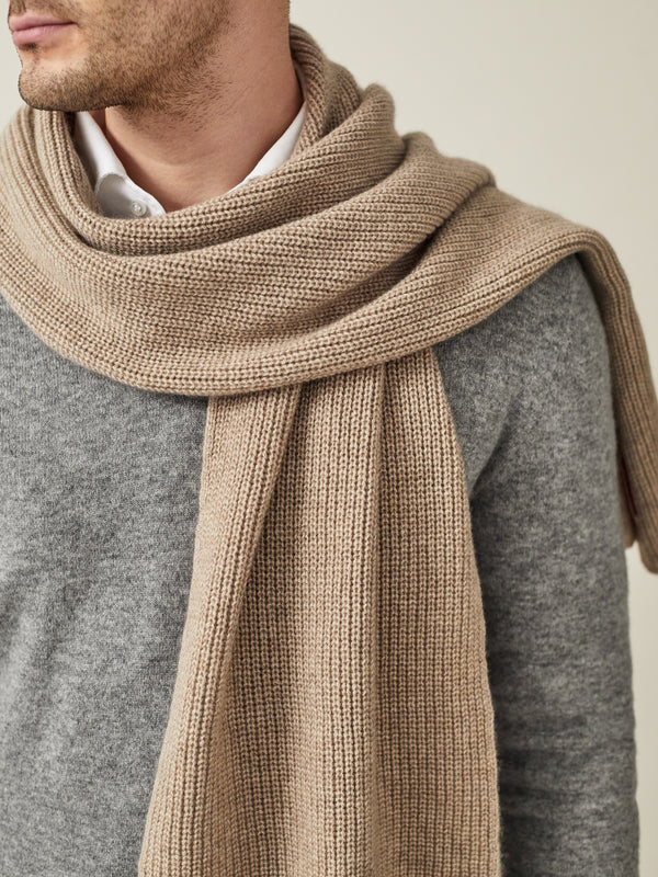 Luca Faloni Camel Beige Chunky Knit Cashmere Scarf Made in Italy