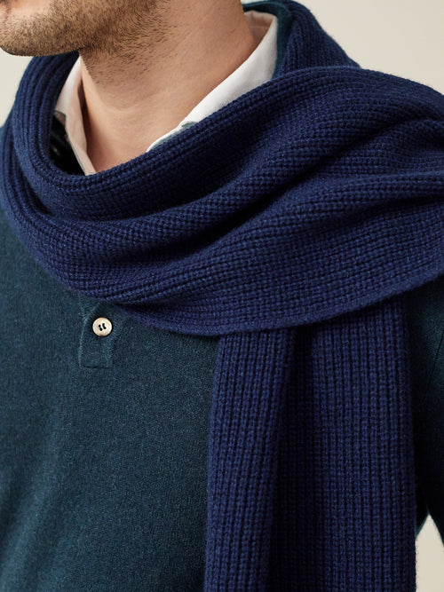 Luca Faloni Navy Blue Chunky Knit Cashmere Scarf Made in Italy