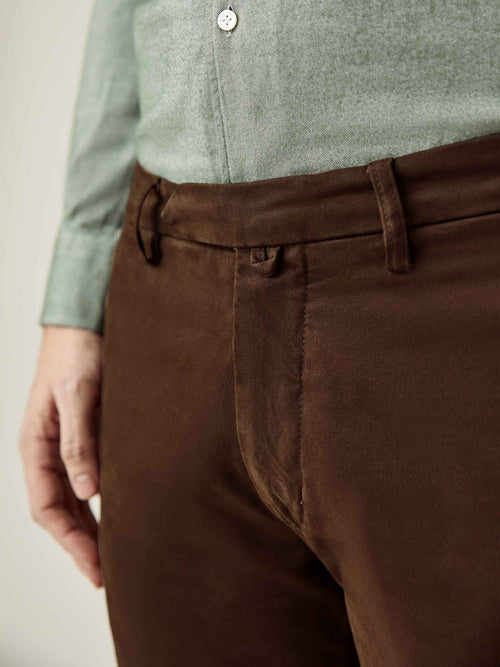 Luca Faloni Walnut Brown Cortina Winter Chinos Made in Italy