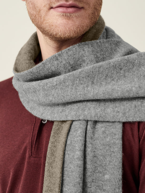 Luca Faloni Grey and Brown Double-Faced Cashmere Scarf Made in Italy