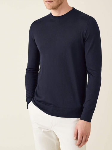 Luca Faloni Navy Blue Fine Silk-Cashmere Crew Neck Made in Italy